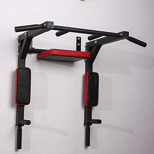 Pull Up Black Suitable for Both Home and Commercial Use DERTHWER Parallel Bars Multifunctionsal Wall Mounted Pull Up Bar for Home Chin Up Bar Pullup and Dip Bar Pull Up Machine