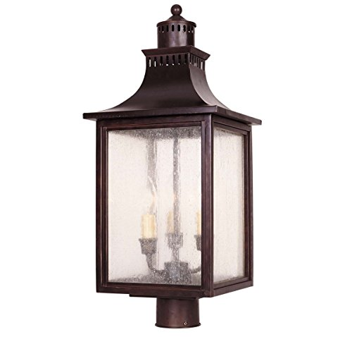 - Savoy House Lighting 5-255-13  Monte Grande Collection 3-Light Outdoor Post Mount Lantern, English Bronze Finish with Pale Cream Seeded Glass