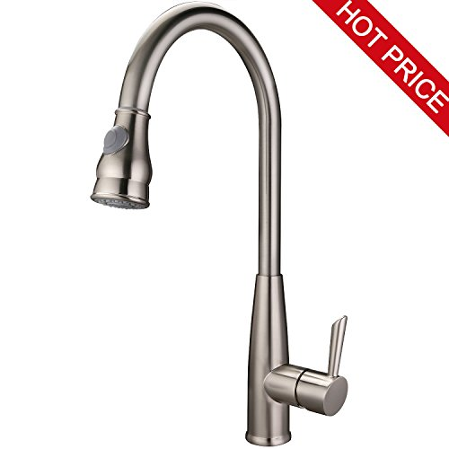HOMEIDEAS Commercial Single Handle Pull Down Sprayer Kitchen Sink Faucet, High-Arch Pull Out Sprayer Sink Faucet, Stainless Steel Brushed Nickel Finished by HOMEIDEAS