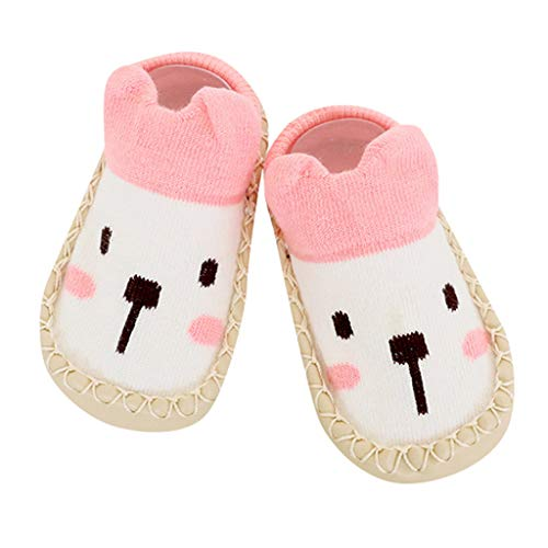 Shusuen Unisex-Baby Newborn Cozy Fleece Bootie Soft Anti-Slip Socks Slipper Shoes Pink