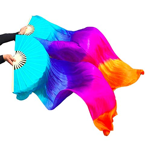 Nimiman 1 Pair(Left+Right) 100% Real Silk Belly Dance Fan Veil 1.8m ((Dark) Blue+Purple+Rose+Orange) (Silk Fans)