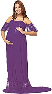 IWEMEK Women Off Shoulder V Neck Ruffle Sleeve Lace Maternity Photography Dress