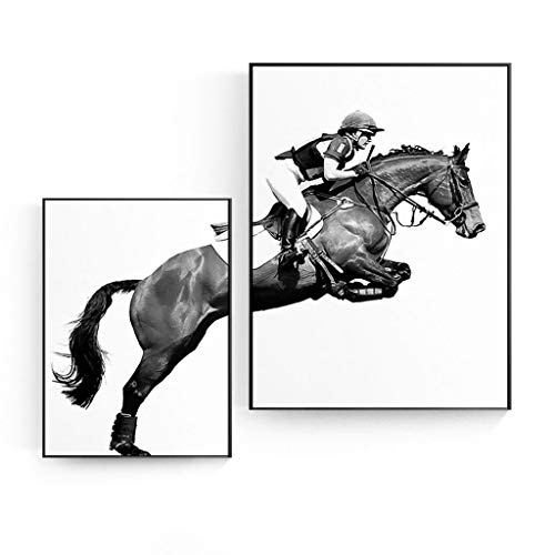 piaoling Nordic Style Equestrian Art Frame Painting Canvas Wall Printing Wall Decoration Home Decoration, 2 Panels (Color : B)
