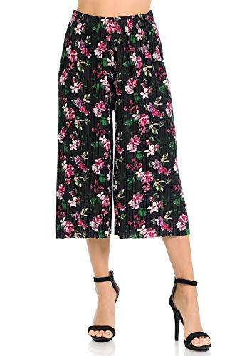 Auliné Collection Womens Pleated High Waist Wide Leg Cropped Capri Culotte Pants - Magenta Floral ()