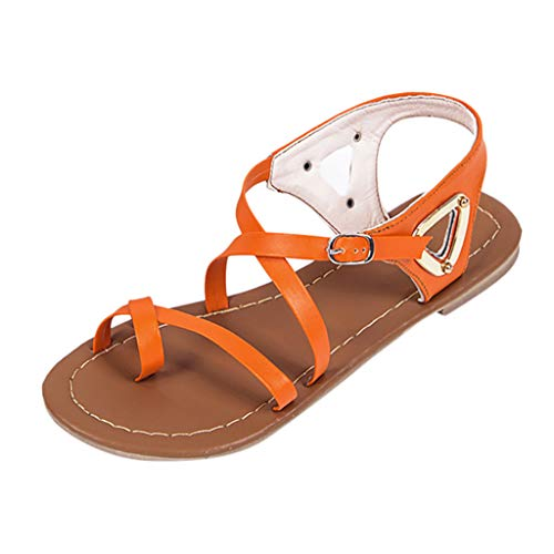 Thenxin Women's Summer Tie Up Ankle Flat Sandals Ladies Casual Beach Roman Shoes (Orange,8 US)