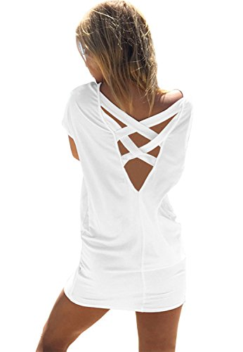 Yingkis Women Casual Summer Bikini Beach Shirt Dress Criss Cross Swimsuit Swimwear Bathing Suit Cover Up,White XXL (Beachwear Summer)