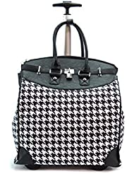 Houndstooth Rolling Travel Tote Foldable Carry-On