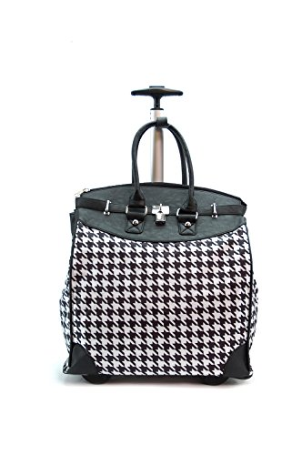 - Houndstooth Rolling Travel Tote Foldable Carry-On