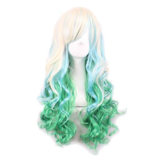 [Rise World Wig Women's Two Tone Blonde Green Long Curly Ombre Cosplay Hair Wig] (Rainbow Dash Human Costume)