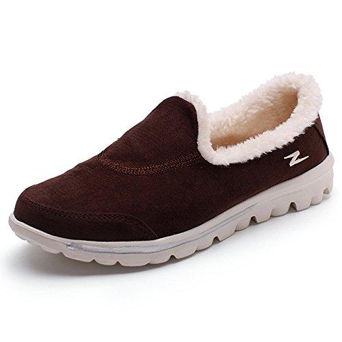 Enllerviid Mujer Suede Slip On Soft Fur Walking Zapatos Mocasines De Madre Planos Marrón
