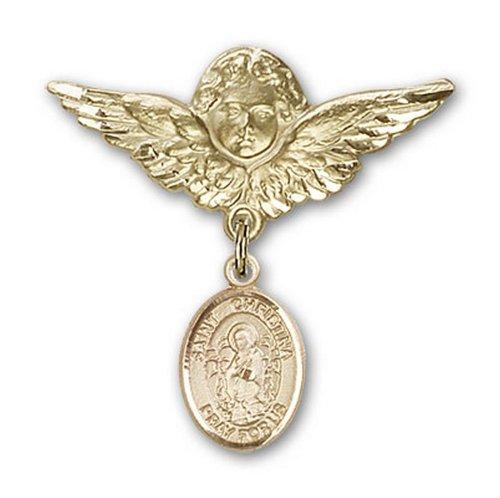 Icecarats Or Bijoux De Créateurs Rempli R. Christina Le Charme Ange Étonnante Broche De Badge 1 1/8 X 1 1/8