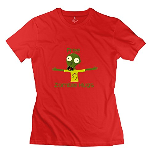 KST Free Hugs Slim Fit T-Shirt Sport For Women Red US Size XX-Large]()