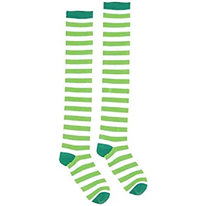 b90ba95557a Image Unavailable. Image not available for. Color  Green   White Striped  Knee-High Socks