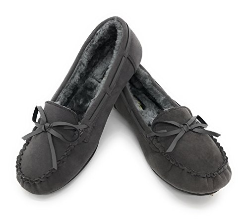 Blauwe Bes Easy21 Mocassin Voor Dames En Kinderen Met Zachte Imitatiebont Voering Van Imitatiebont Comfortabele Pantoffels (een Maat Groter Bestellen) Grijs 21