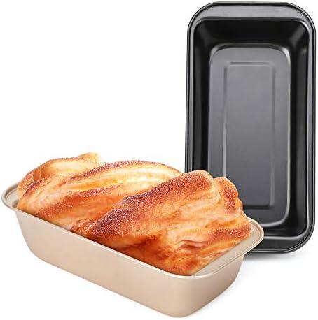 Loaf Pans for Baking Bread, Beasea 8.5 x 4.5 Inch Nonstick Bread Pans Set of 2, Bread Loaf Pans Black Golden Loaf Baking Pans Carbon Steel Loaf Bakeware for Oven Baking