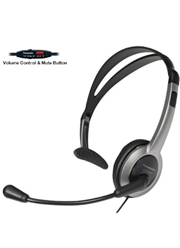 Headset For Cordless Phones - Panasonic Hands-Free Foldable Headset with Volume Control & Mute Switch for Panasonic KX-TG6071B, KX-TG6072B, KX-TG6073B, KX-TG6074B 5.8 GHz Digital Cordless Phone Answering System