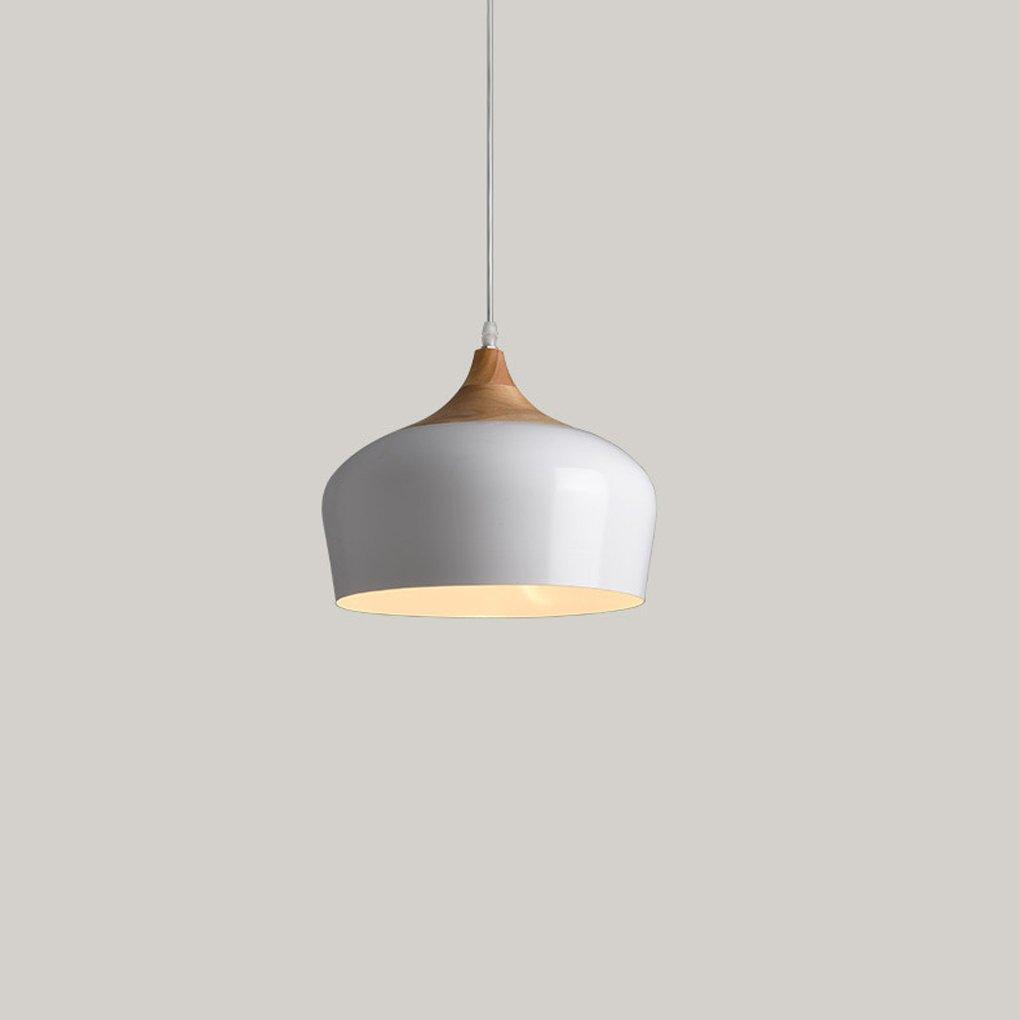 (350 * .250 Mm) Lámpara para restaurante de estilo minimalista nórdico (tapa) Lámpara de cabeza única 'Living Room' Barra de dormitorio Iluminación creativa - Madera maciza, aluminio Período de garantía - 3 años ( Color : White ) Aiehua