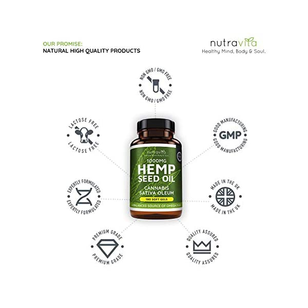 Hemp Oil 1000mg Supplement – 180 Soft Gel Capsules of Pure Cold Pressed Hemp Seed Oil – Rich in Omega 3 & 6 – Good for 6 Months Supply – Made in The UK by Nutravita