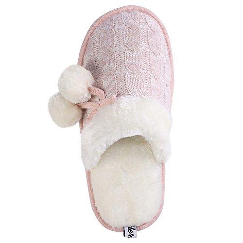 Aerusi Dames Mady Pom Knit Slipper Slipper Pink
