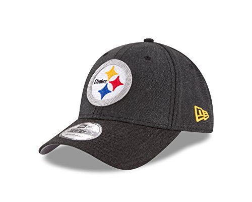 New Era NFL Pittsburgh Steelers Heather Crisp 9FORTY Adjustable Cap, One Size, Black Heather