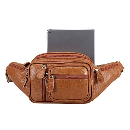 Polare Men's Natural Leather Fanny Pack Waist Bag Brown Large by Polare (Image #6)