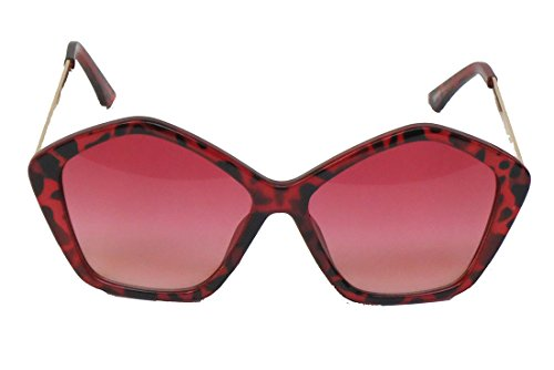 Corona Collection 5 Sided Sunglasses with Leopard Print (Red)