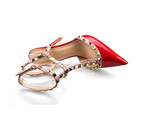 Rivetti Tacchi Ccbubble Alti 6 Sandali Vernice Rosso In Centimetri qOW7nvfw