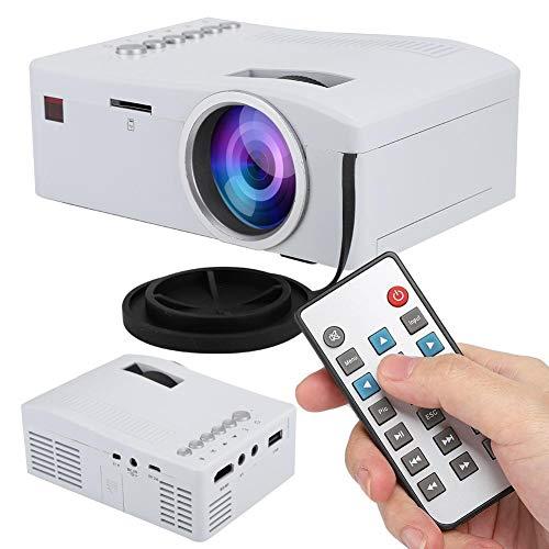 ASHATA Mini Beamer,Tragbarer Videoprojektor 1080P Full HD LED Projektor mit USB-,TF-,AV-,HDMI-,IR-Eingang, Mini Heimkino…