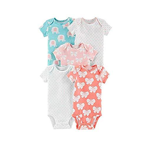 Carter's Baby Girls' 5-Pack Short-Sleeve Original Bodysuits (Bows/Butterflies/Elephants, 6 Months)