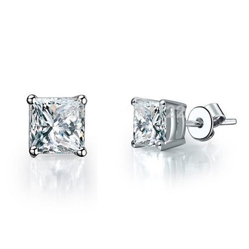 Vs2 Natural (0.75 carat E/VS2 Classic Radiant Cut Natural Diamond Basket Stud Earrings in 18k White Gold (Butterfly))