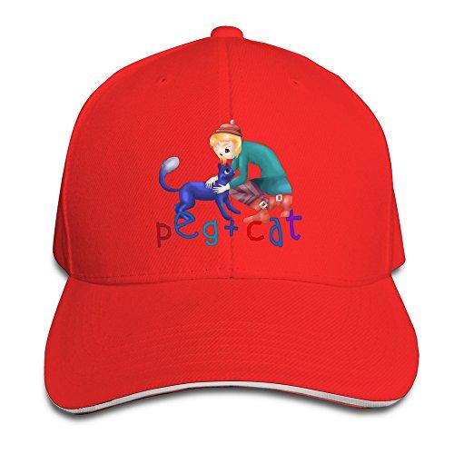 peg-cat-unisex-100-cotton-adjustable-baseball-hat-red-one-size