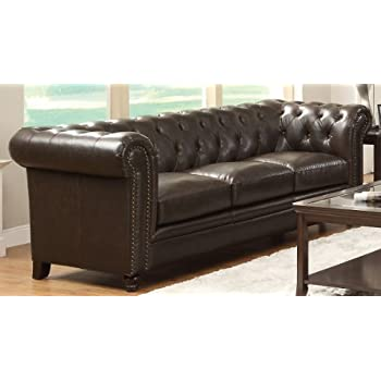 Coaster Home Furnishings  Roy Modern Traditional Rolled Arm Tufted Stationary Three Seater Sofa - Brown Bonded Leather