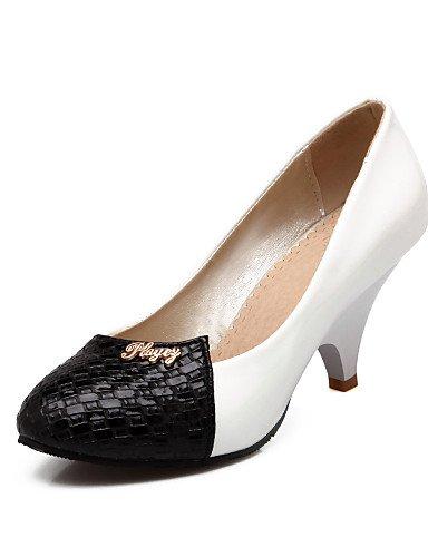 GGX/Damen Schuhe Patent Leder Sommer-/, Round Toe Heels Büro & Karriere/Casual Keilabsatz Split Gemeinsame Schwarz/Weiß black-us9 / eu40 / uk7 / cn41