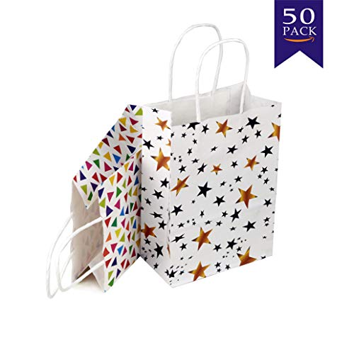 50 Pieces Kraft Party Favors Bags with Handles (Gold Star&Triangle)]()