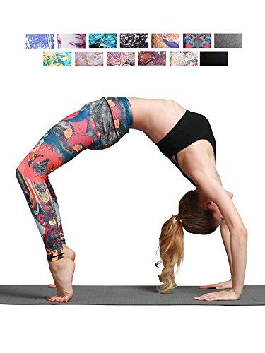 FINEMORE Women Girl High Waist Printed Yoga Pants Stretchy Pilates Workout Sport Yoga Leggings Regular Plus Size Peacock L(US 12-14)