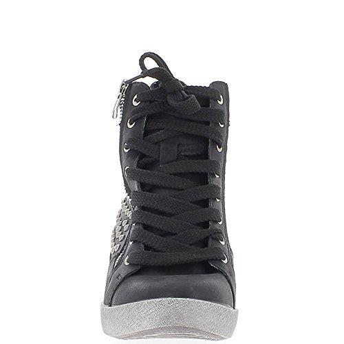Nero aumentante sneakers con zeppa con strass tacco 7,5 cm