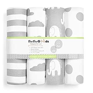 Changing Pad Cover – Premium Baby Changing Pad Covers 4 Pack – Boy or Girl Changing Pad Cover – Pure Cotton Machine Washable Grey and White Changing Table Cover – Diaper Changing Pad Cover Sheets
