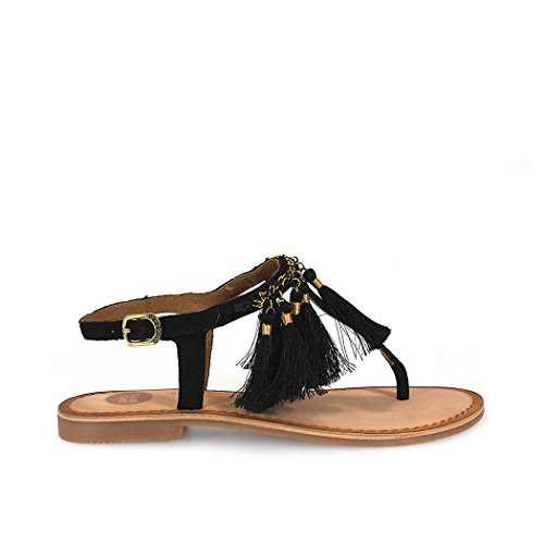 Gioseppo Pompom t-Bar Sandals Tutayan by (38 - Black)