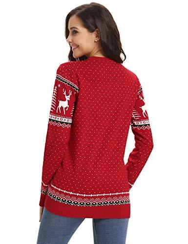 Wapiti Noël T Hiver De Neige Dames Abollria Christmas Coton Imprimé Fête Casual Rouge Sweater Top Automne Flocon Tricot Femme Motif Joyeux Pull shirt Arbre Rond Col Ox6SaE