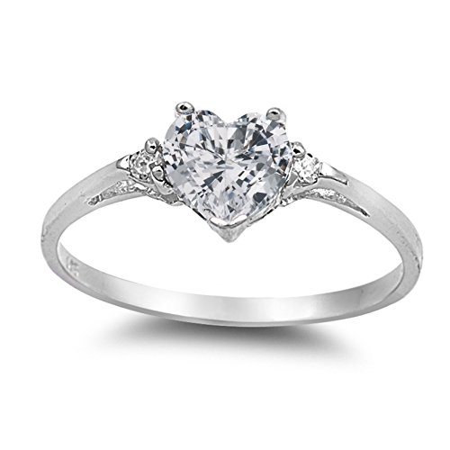 - 925 Sterling Silver Faceted Natural Genuine White Topaz Heart Promise Ring Size 7