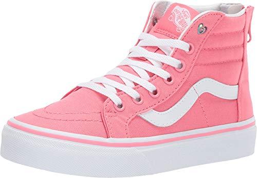 Vans Kids Girl's Sk8-Hi Zip (Little Kid/Big Kid) (Heart Eyelet) Strawberry Pink/True White 7 M US Big Kid