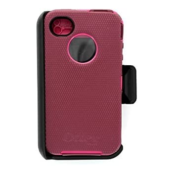 173e76e0a7fc5b OtterBox Defender Series Case for iPhone 4 4S - Retail Packaging - Pink Deep