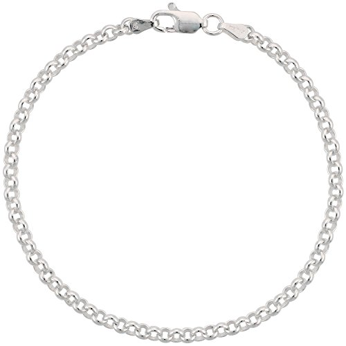 Sterling Silver Italian Rolo Chain Necklace 3.5mm Nickel Free, 18 - Rolo Inch Silver Sterling 18