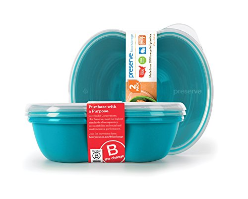 Preserve 46103 Square Food Storage Container Made from Recycled Plastic, 25 Ounce Capacity, Set of 2, Aqua Blue