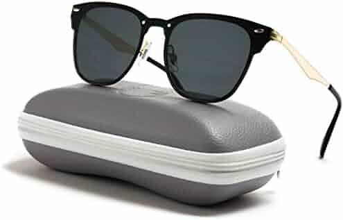 eaa1773c6a WearMe Pro - Full Mirror Lens Reflective Rimless Clubmaster Sunglasses