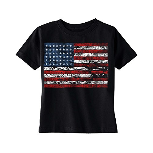 Branded American Flag (Vintage American Flag USA Toddler T-shirt 4th Of July Kids Black 5T)