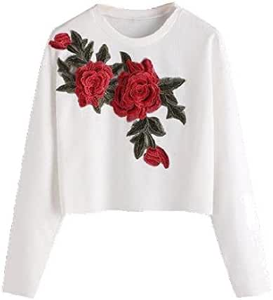 Abetteric Women's Floral Embroidery Multi Style T-Shirt Crop Tops