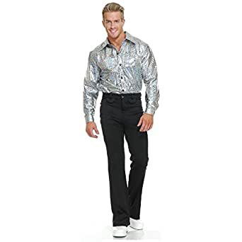 Silver Glitter Disco Shirt Adult Costume - X-Small