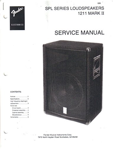 (FENDER SPL Series Loudspeakers 1211 Mark II, Guitar Service Manual Repair Guide)