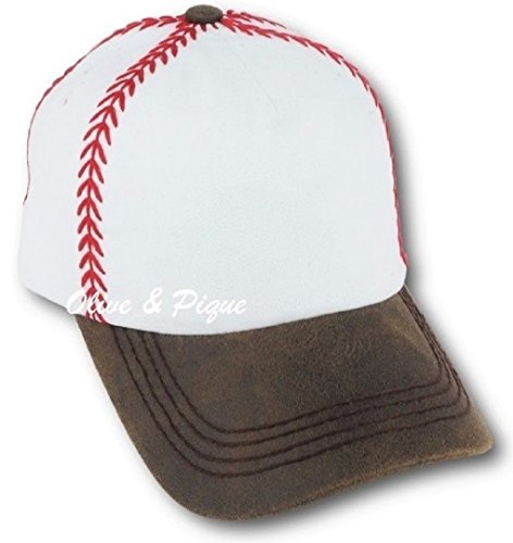 Olive & Pique Baseball Themed Ball & Catcher's Mitt Red Stitching Cap (White/Brown)
